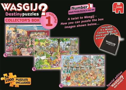 Wasgij Destiny Collectors Box 1 (3-in-1) (JUM19124), a 1000 piece jigsaw puzzle by Jumbo. Click to view larger image.
