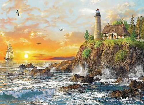 Sunset on the Rocky Coast (TRE33044), a 3000 piece jigsaw puzzle by Trefl. Click to view larger image.