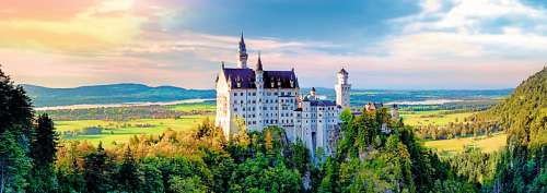 Neuschwanstein Castle Panorama (TRE29028), a 1000 piece jigsaw puzzle by Trefl. Click to view larger image.