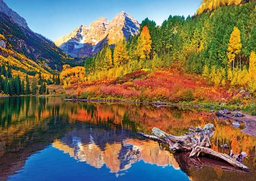 Maroon Lake, Aspen Colorado (TRE10353), a 1000 piece jigsaw puzzle by Trefl. Click to view larger image.