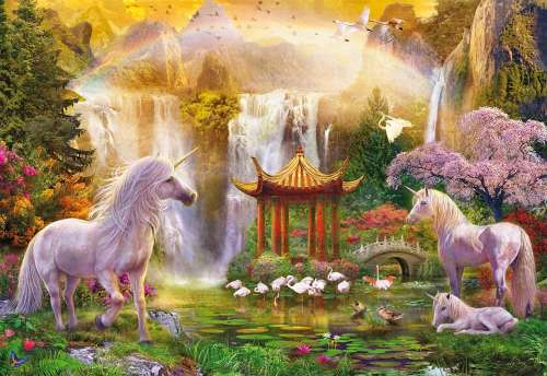 Unicorn Valley of the Waterfalls (EDU16270), a 500 piece jigsaw puzzle by Educa. Click to view larger image.