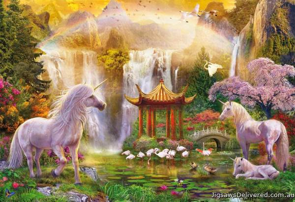 Unicorn Valley of the Waterfalls (EDU16270), a 500 piece jigsaw puzzle by Educa.
