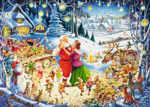 Santa's Christmas Party (RB19893-1), a 1000 piece jigsaw puzzle by Ravensburger. Click to view larger image.