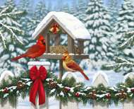 Cardinals at Christmas (Large Pieces) (RB13582-0), a 300 piece Ravensburger jigsaw puzzle.