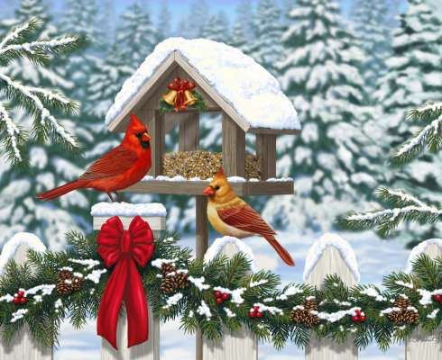 Cardinals at Christmas (Large Pieces) (RB13582-0), a 300 piece jigsaw puzzle by Ravensburger. Click to view larger image.