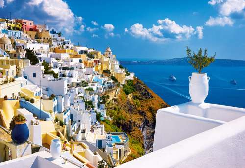 Santorini, Greece (TRE26119), a 1500 piece jigsaw puzzle by Trefl. Click to view larger image.