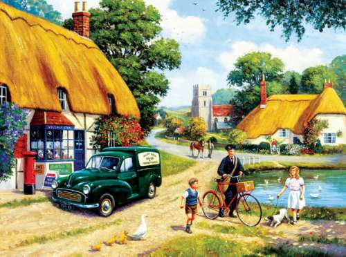 The Village Postman (SUN13794), a 1000 piece jigsaw puzzle by Sunsout. Click to view larger image.