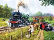 Watching The Flying Scotsman (SUN13792), a 1000 piece Sunsout jigsaw puzzle.