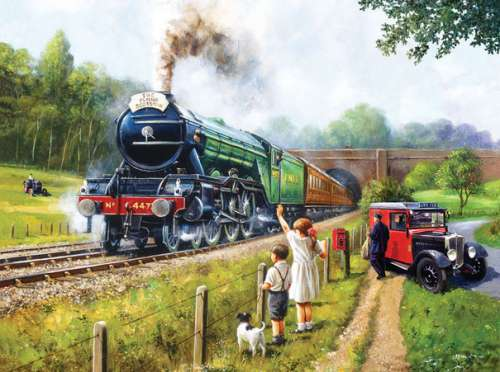 Watching The Flying Scotsman (SUN13792), a 1000 piece jigsaw puzzle by Sunsout. Click to view larger image.