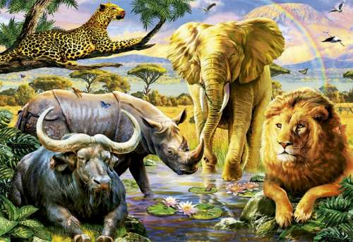 The Big Five (EDU16748), a 1000 piece jigsaw puzzle by Educa. Click to view larger image.