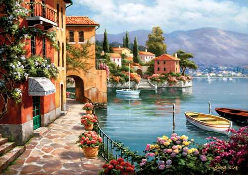 Villa de Lago (ANA4524), a 1500 piece jigsaw puzzle by Anatolian. Click to view larger image.