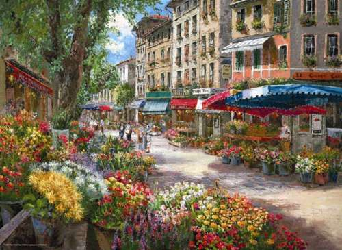 Paris Flower Market (ANA3106), a 1000 piece jigsaw puzzle by Anatolian. Click to view larger image.