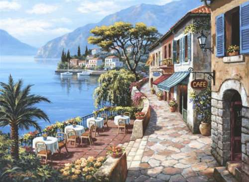 Overlook Cafe II (ANA3085), a 1000 piece jigsaw puzzle by Anatolian. Click to view larger image.
