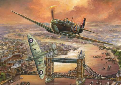 Spitfire over London (JUM11126), a 1000 piece jigsaw puzzle by Jumbo. Click to view larger image.
