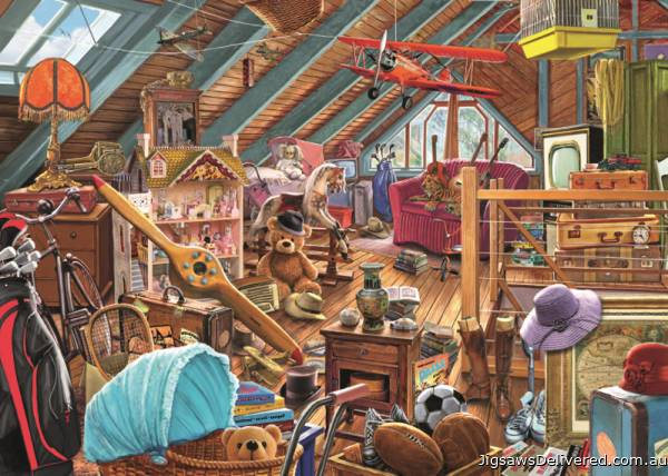 Toys in the Attic (JUM11128), a 1000 piece jigsaw puzzle by Jumbo.