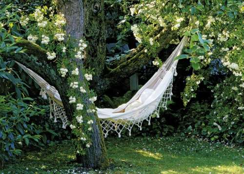 Hammock (My Secret Garden) (HEY29691), a 1000 piece jigsaw puzzle by HEYE. Click to view larger image.