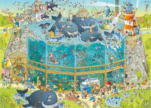 Ocean Habitat (Funky Zoo) (HEY29777), a 1000 piece jigsaw puzzle by HEYE. Click to view larger image.