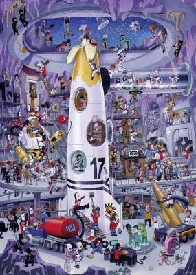 Rocket Launch (HEY29790), a 1000 piece jigsaw puzzle by HEYE. Click to view larger image.