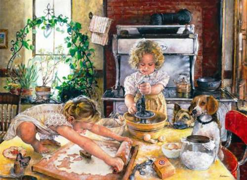 Baking Cookies (ANA3107), a 1000 piece jigsaw puzzle by Anatolian. Click to view larger image.