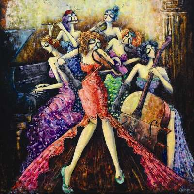 Ladies Orchestra (ANA1014), a 1024 piece jigsaw puzzle by Anatolian. Click to view larger image.