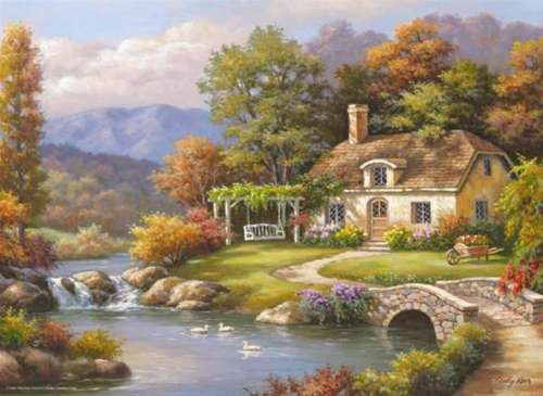 Cottage Stream (ANA3091), a 1000 piece jigsaw puzzle by Anatolian. Click to view larger image.