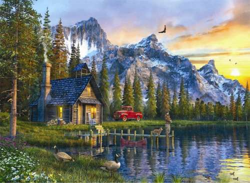 Sunset Cabin (ANA1024), a 1000 piece jigsaw puzzle by Anatolian. Click to view larger image.
