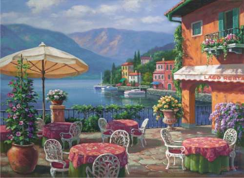 Lago Cafe, Lake Como (ANA1005), a 1000 piece jigsaw puzzle by Anatolian. Click to view larger image.