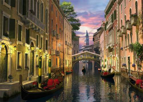 Venice at Dusk (ANA4904), a 3000 piece jigsaw puzzle by Anatolian. Click to view larger image.