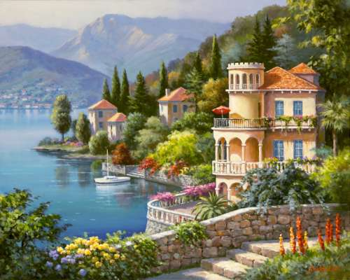 Lakeside Villa, Italy (ANA3915), a 2000 piece jigsaw puzzle by Anatolian. Click to view larger image.