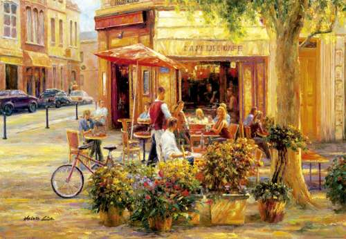 Corner Cafe (EDU17130), a 2000 piece jigsaw puzzle by Educa. Click to view larger image.