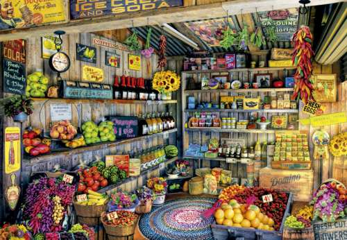Grocery Store (EDU17128), a 2000 piece jigsaw puzzle by Educa. Click to view larger image.