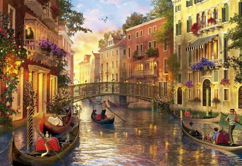 Sunset in Venice (EDU17124), a 1500 piece jigsaw puzzle by Educa. Click to view larger image.