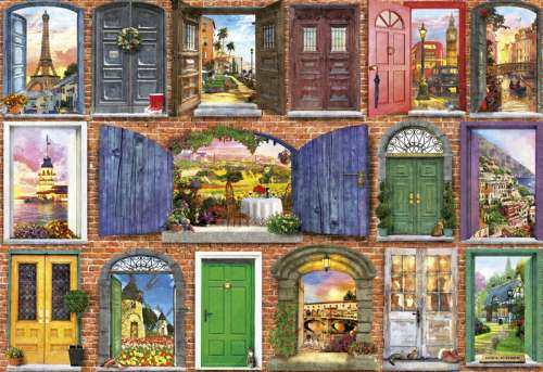 Doors of Europe (EDU17118), a 1500 piece jigsaw puzzle by Educa. Click to view larger image.