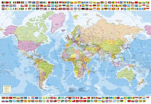 Political World Map (EDU17117), a 1500 piece jigsaw puzzle by Educa. Click to view larger image.