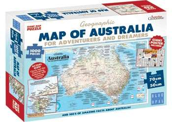 Map of Australia (for Adventurers and Dreamers) (BL01882), a 1000 piece jigsaw puzzle by Blue Opal. Click to view larger image.