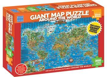 Giant Around the World Map (BL01881), a 300 piece jigsaw puzzle by Blue Opal.