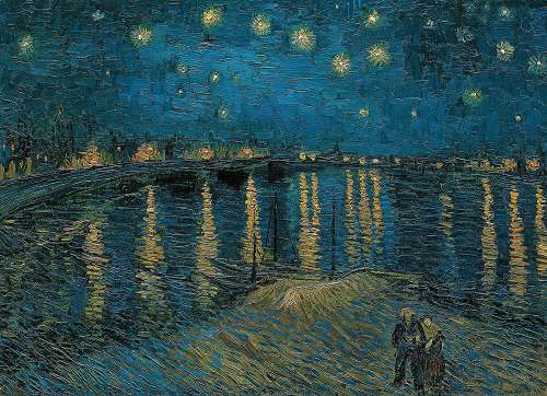 Starry Night Over The Rhone (CLE 39344), a 1000 piece jigsaw puzzle by Clementoni. Click to view larger image.