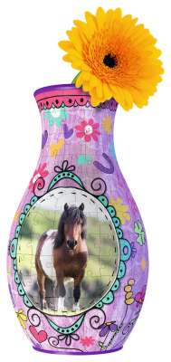 Horses Flower Vase (3D Puzzle) (RB12052-9), a 216 piece jigsaw puzzle by Ravensburger. Click to view larger image.