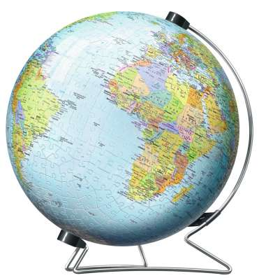 World Globe (3D Puzzle) (RB12436-7), a 540 piece jigsaw puzzle by Ravensburger. Click to view larger image.