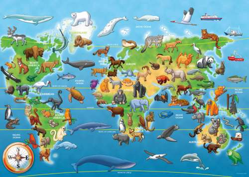 Endangered Animals SuperSize (RB05515-9), a 60 piece jigsaw puzzle by Ravensburger. Click to view larger image.