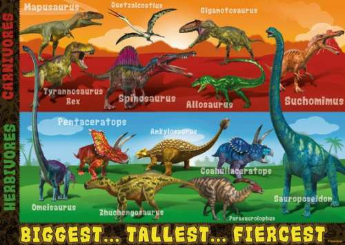 Extreme Dinosaurs SuperSize (RB05516-6), a 60 piece jigsaw puzzle by Ravensburger. Click to view larger image.