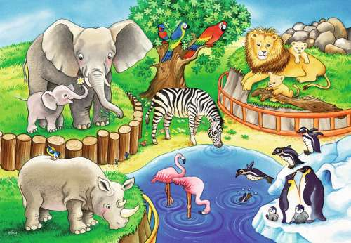 Animals In The Zoo (RB07602-4), a 12 piece jigsaw puzzle by Ravensburger. Click to view larger image.