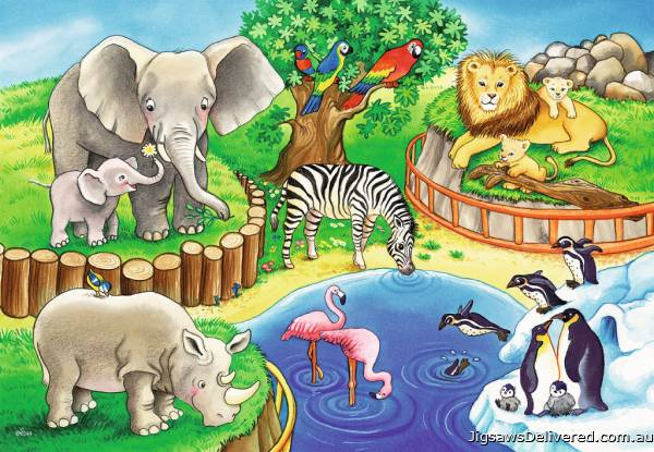 Animals In The Zoo (RB07602-4), a 12 piece jigsaw puzzle by Ravensburger.