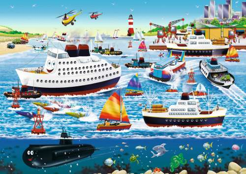 Happy Harbor (RB08793-8), a 35 piece jigsaw puzzle by Ravensburger. Click to view larger image.