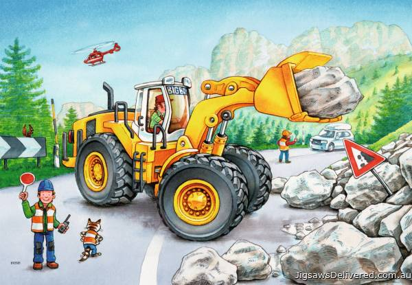 Diggers At Work (RB07802-8), a 24 piece jigsaw puzzle by Ravensburger.