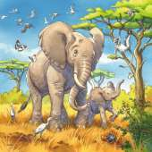 Wild Animals (3 x 49pc) (RB08003-8), a 49 piece Ravensburger jigsaw puzzle.