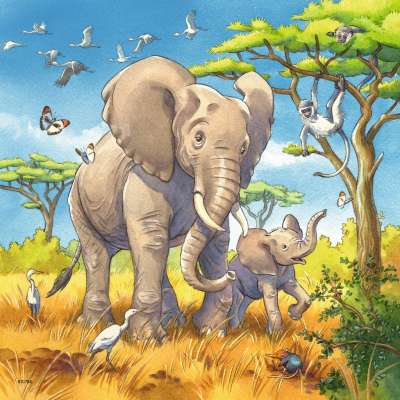 Wild Animals (3 x 49pc) (RB08003-8), a 49 piece jigsaw puzzle by Ravensburger. Click to view larger image.