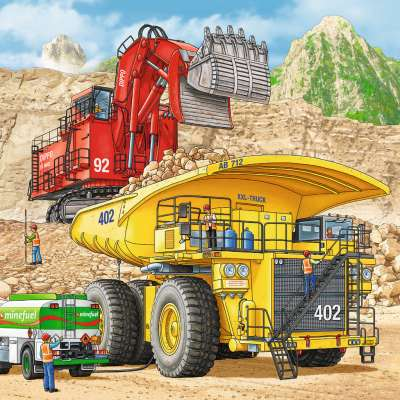 Giant Vehicles (3 x 49pc) (RB08012-0), a 49 piece jigsaw puzzle by Ravensburger. Click to view larger image.