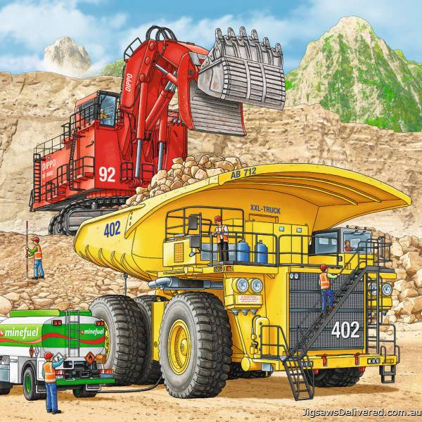 Giant Vehicles (3 x 49pc) (RB08012-0), a 49 piece jigsaw puzzle by Ravensburger.