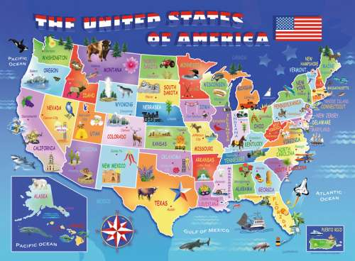 USA State Map (RB10936-4), a 100 piece jigsaw puzzle by Ravensburger. Click to view larger image.